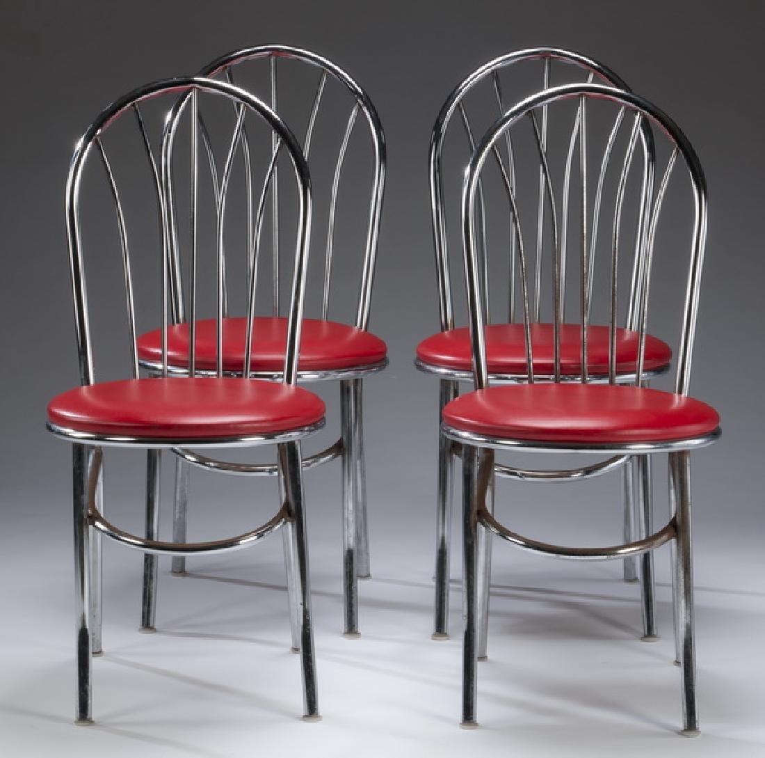 Set of (4) retro chrome & red vinyl diner chairs