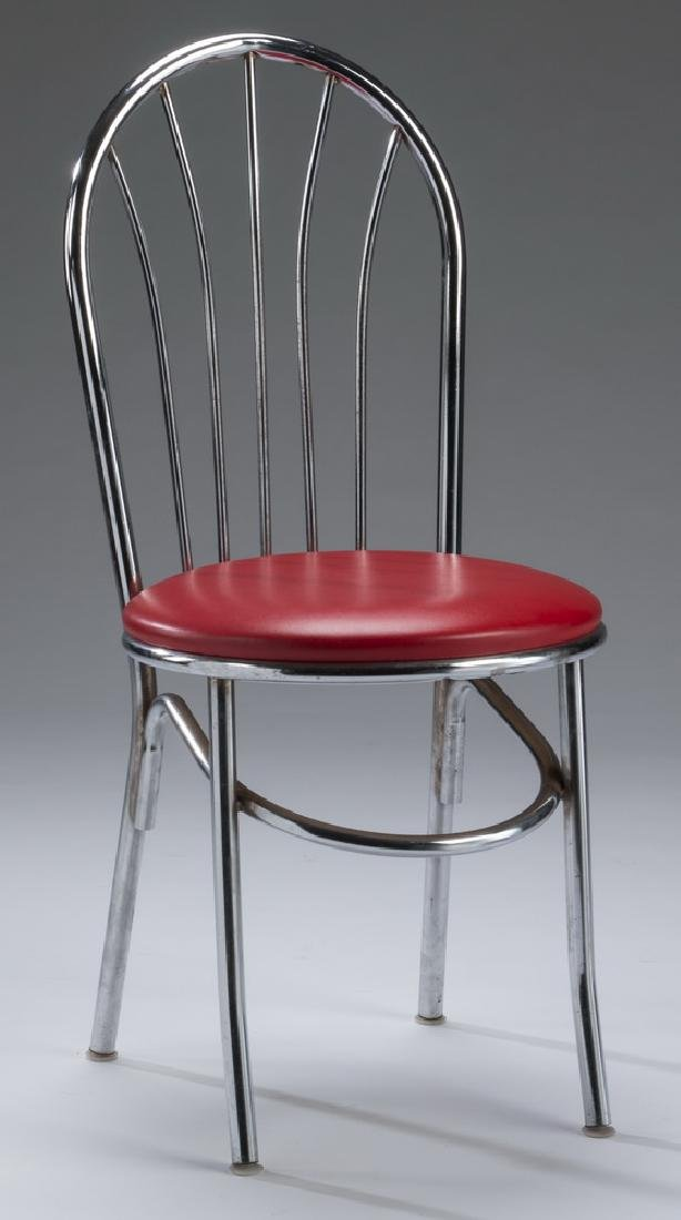 Set of (4) retro chrome & red vinyl diner chairs - 2