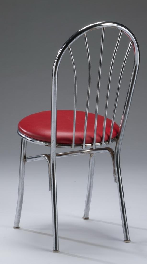 Set of (4) retro chrome & red vinyl diner chairs - 3