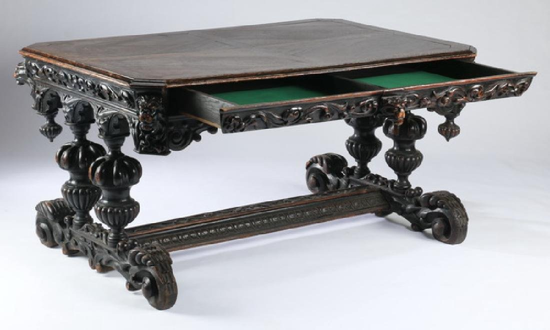 """19th c. English carved oak library table, 59""""w - 2"""