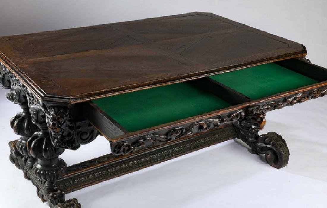 """19th c. English carved oak library table, 59""""w - 3"""