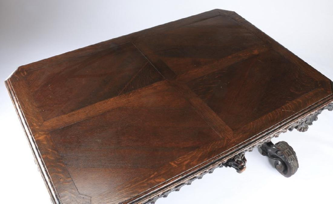 """19th c. English carved oak library table, 59""""w - 4"""