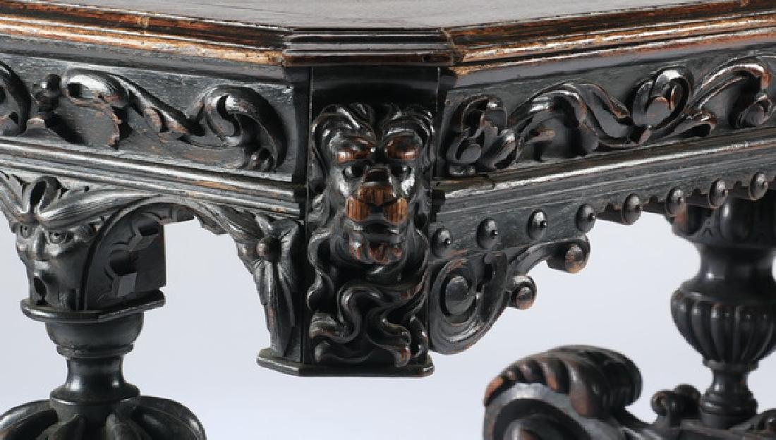 """19th c. English carved oak library table, 59""""w - 6"""