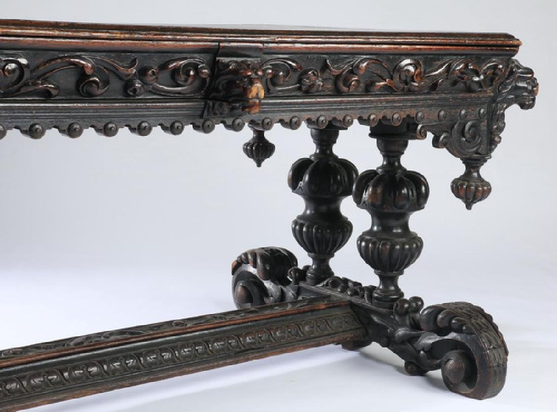 """19th c. English carved oak library table, 59""""w - 7"""