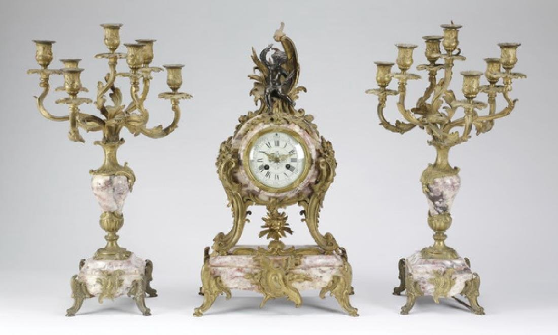 """French gilt bronze and marble clock garniture, 25""""h"""