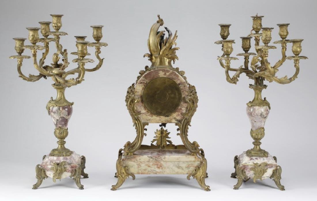 """French gilt bronze and marble clock garniture, 25""""h - 2"""