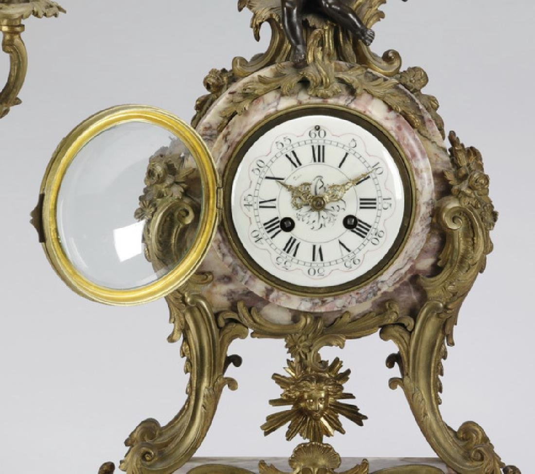 """French gilt bronze and marble clock garniture, 25""""h - 3"""