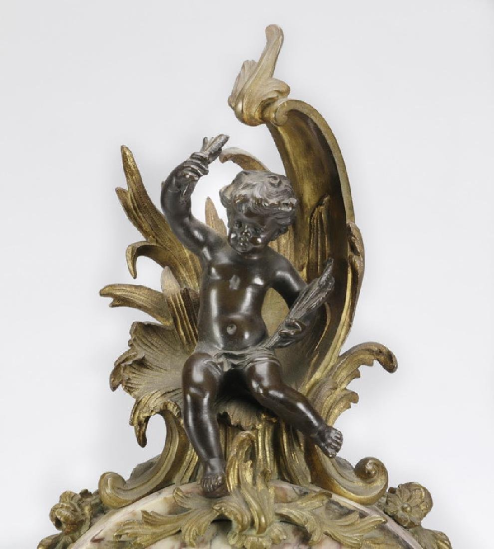 """French gilt bronze and marble clock garniture, 25""""h - 4"""