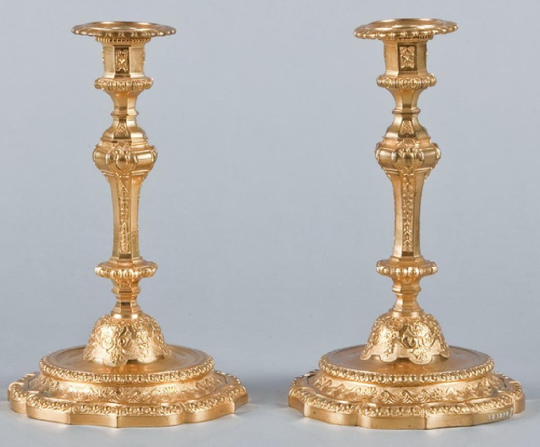 Pair of Louis XV style dore' bronze candleholders
