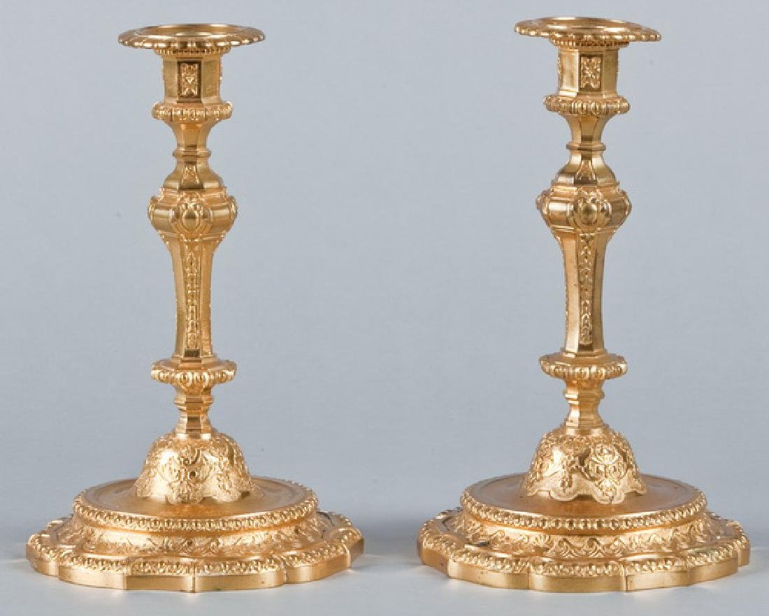 Pair of Louis XV style dore' bronze candleholders - 2
