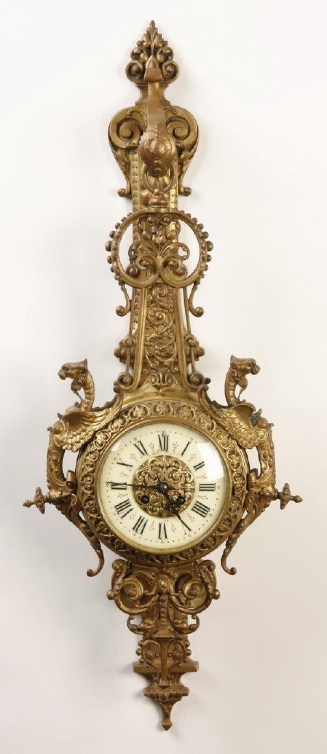 """19th c. French gilt bronze cartel clock, marked, 31""""h"""