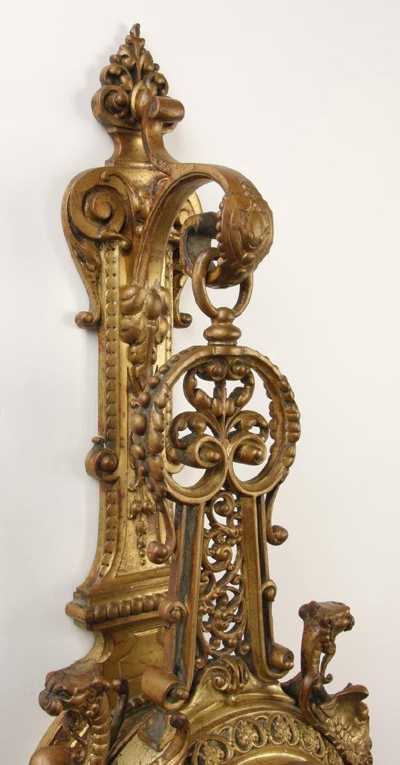 """19th c. French gilt bronze cartel clock, marked, 31""""h - 2"""