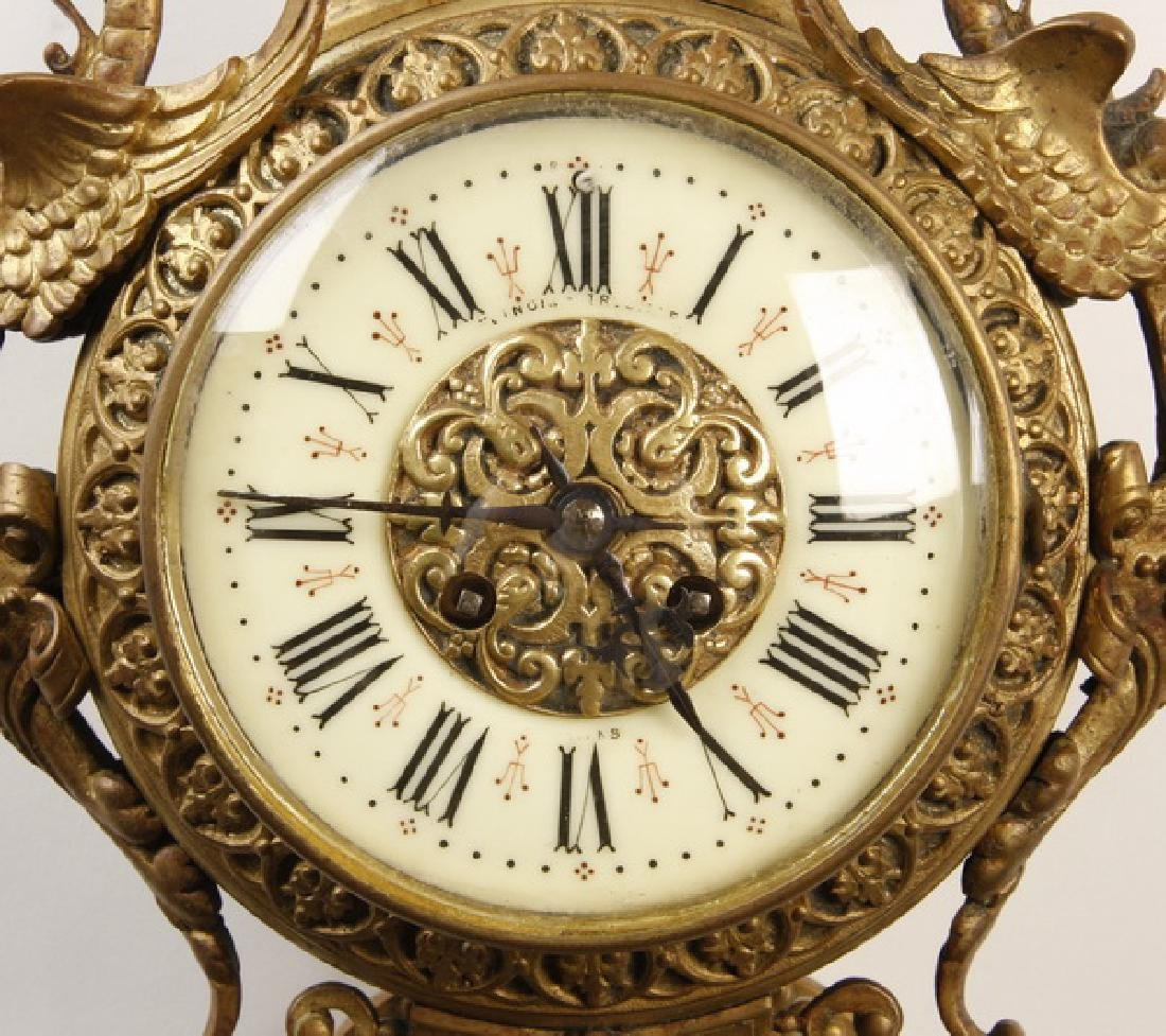 """19th c. French gilt bronze cartel clock, marked, 31""""h - 3"""