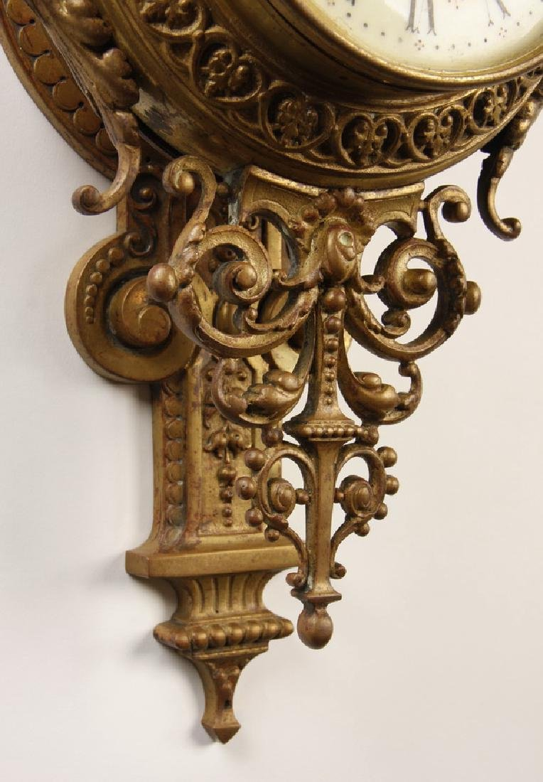 """19th c. French gilt bronze cartel clock, marked, 31""""h - 4"""