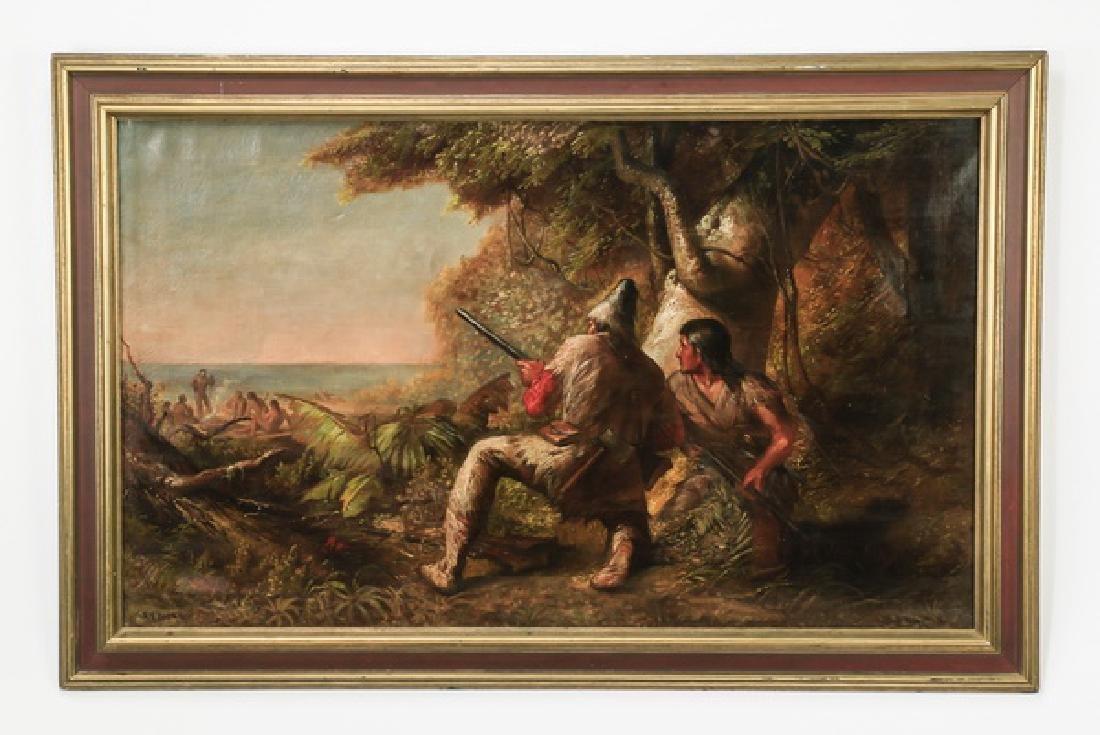 "George F. Bensell O/c signed,  'Ambush', 19th c., 57"""