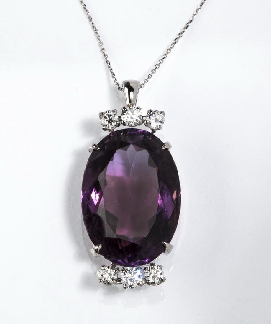 "Amethyst, diamond, & 14k white gold pendant, 1.25""l"