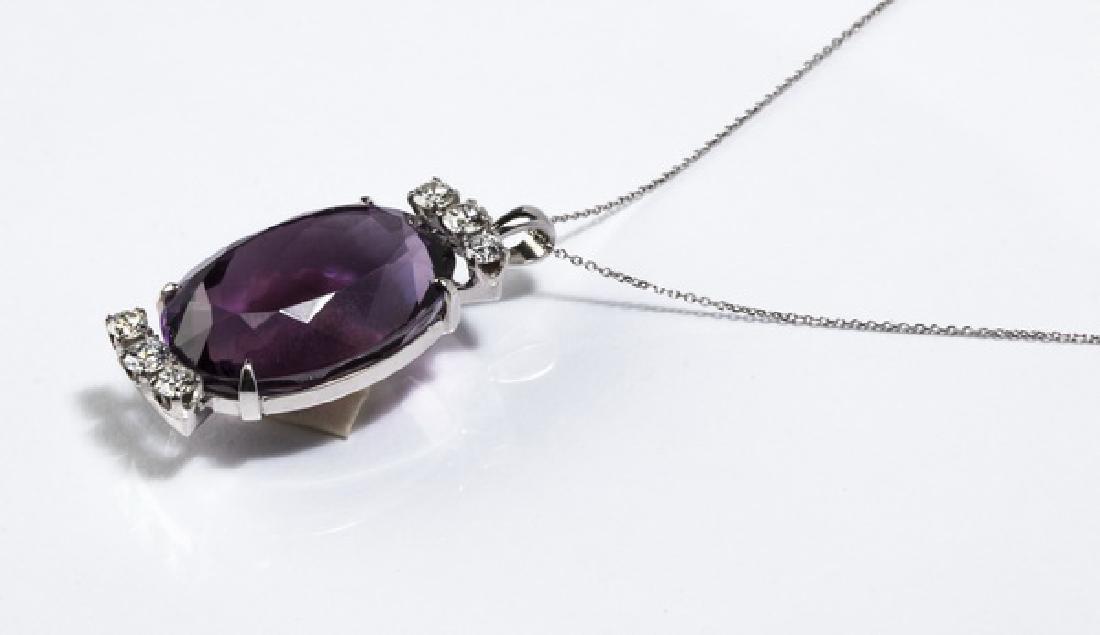 "Amethyst, diamond, & 14k white gold pendant, 1.25""l - 2"