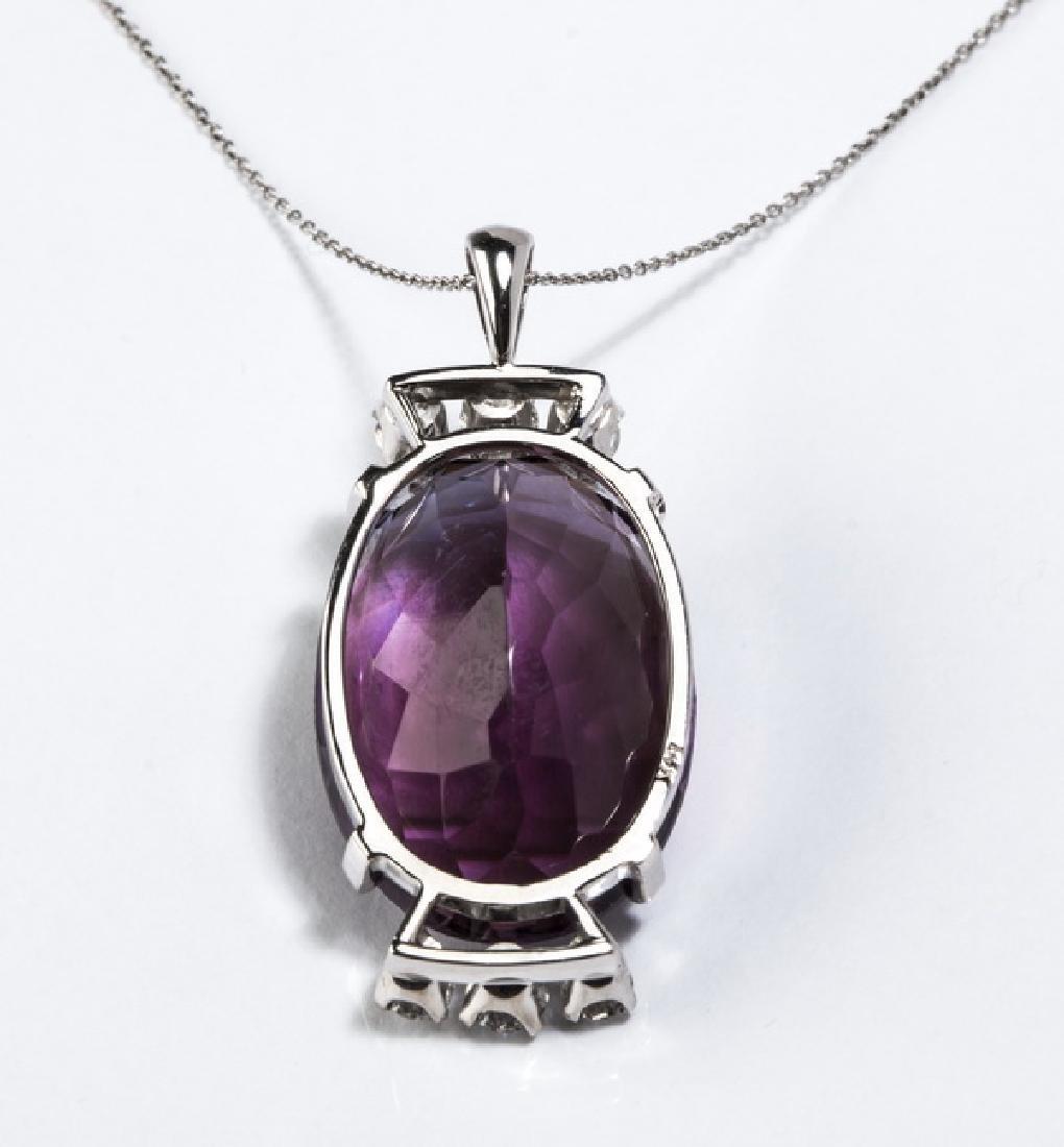 "Amethyst, diamond, & 14k white gold pendant, 1.25""l - 3"
