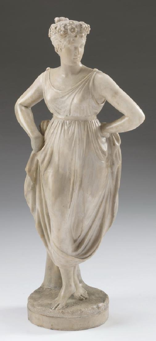 19th c. marble sculpture, 'The Dancer', after Canova