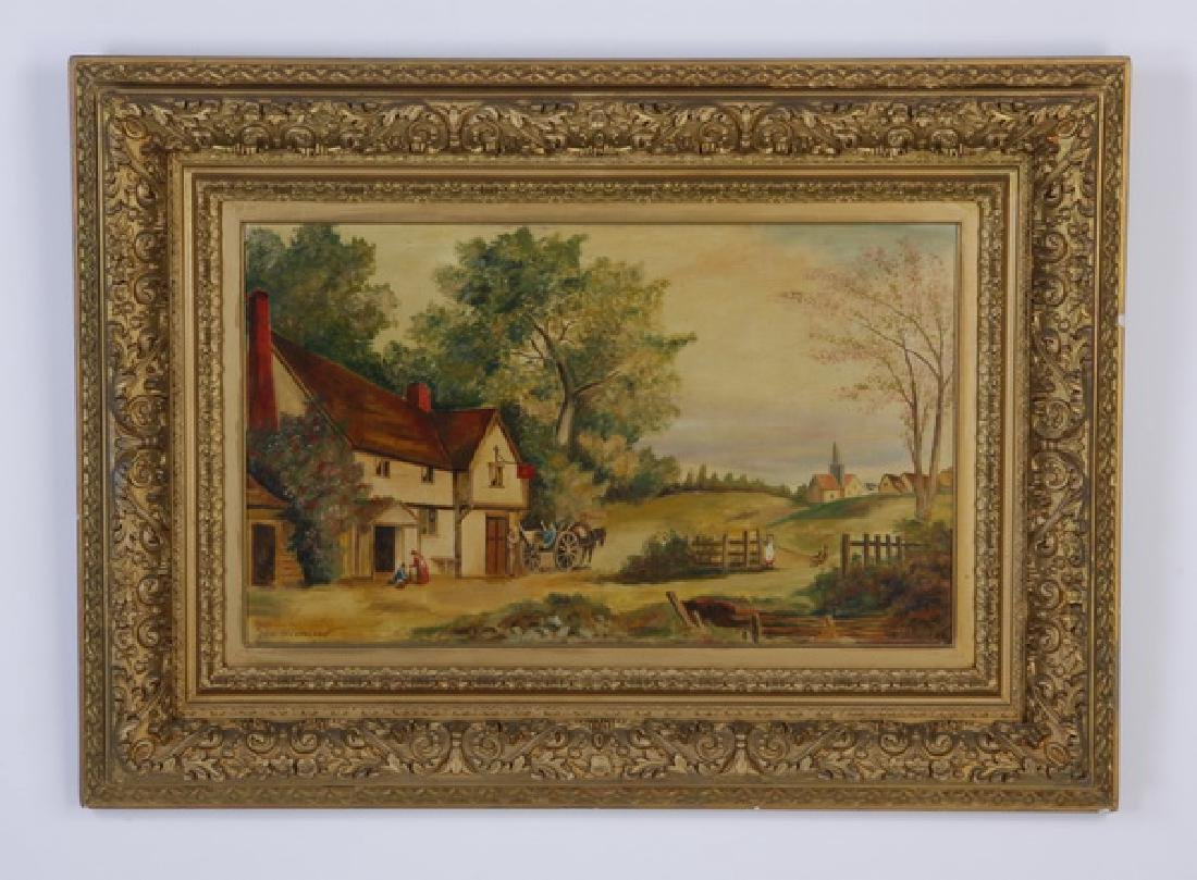 British O/c farmhouse scene, signed