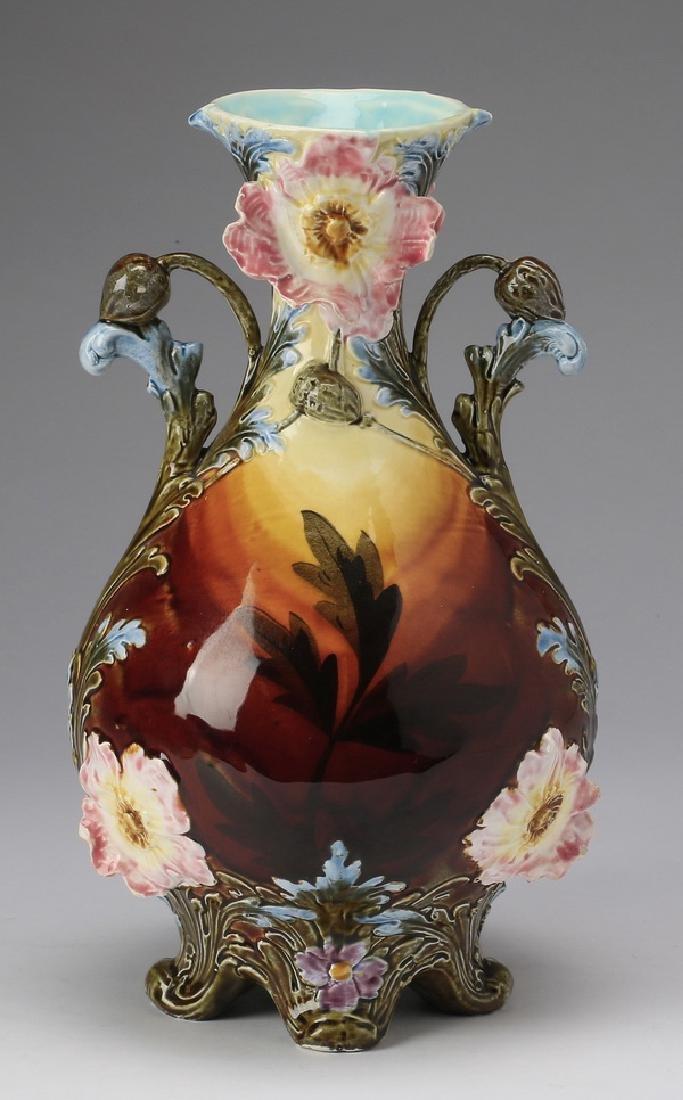"Continental polychrome majolica vase, 12""h"