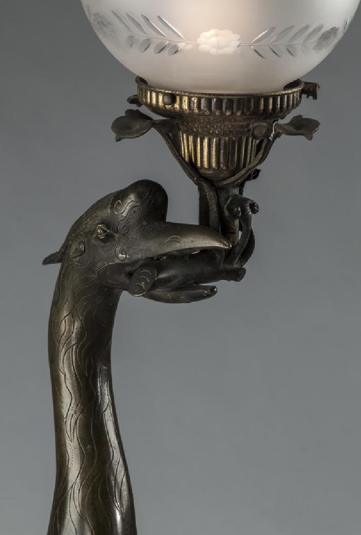 "Bronze Chinese style crane floor lamp, 57""h x 17""w - 2"