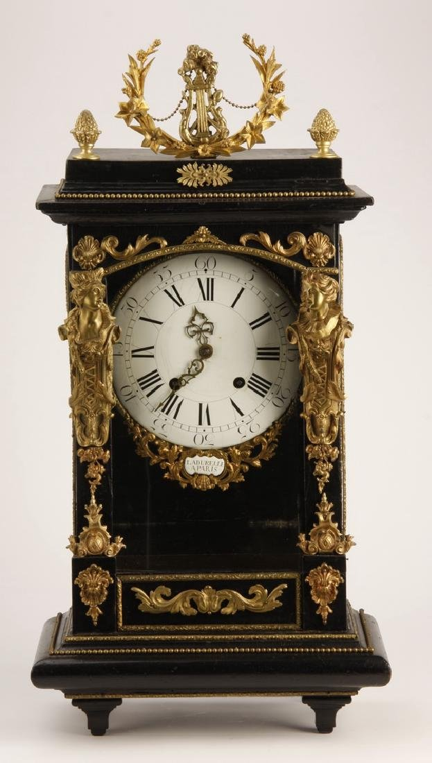 """19th c. French bronze mounted mantel clock, 30""""h"""