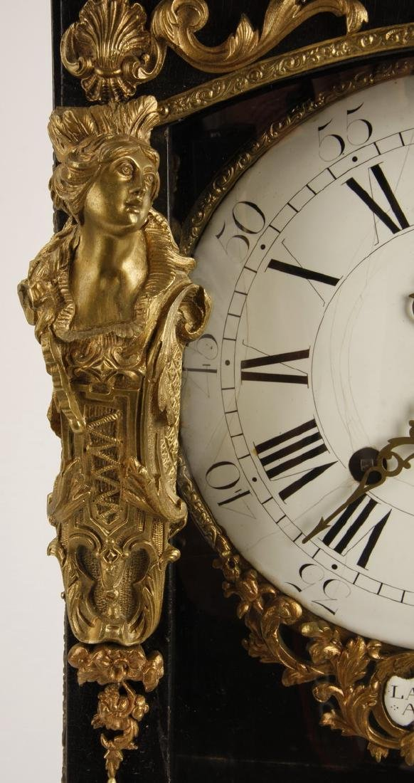 """19th c. French bronze mounted mantel clock, 30""""h - 4"""