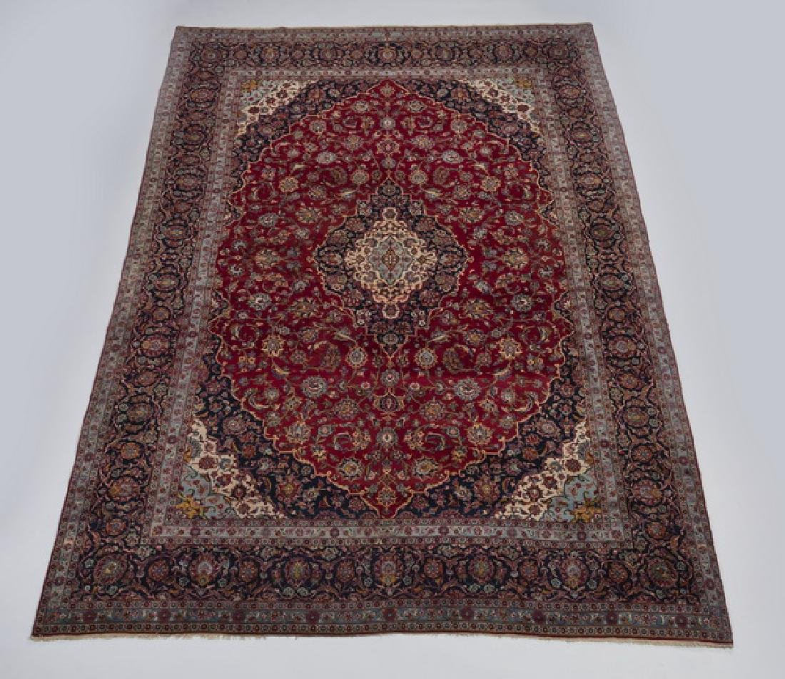 Hand knotted Persian Kashan wool carpet, 10 x 15