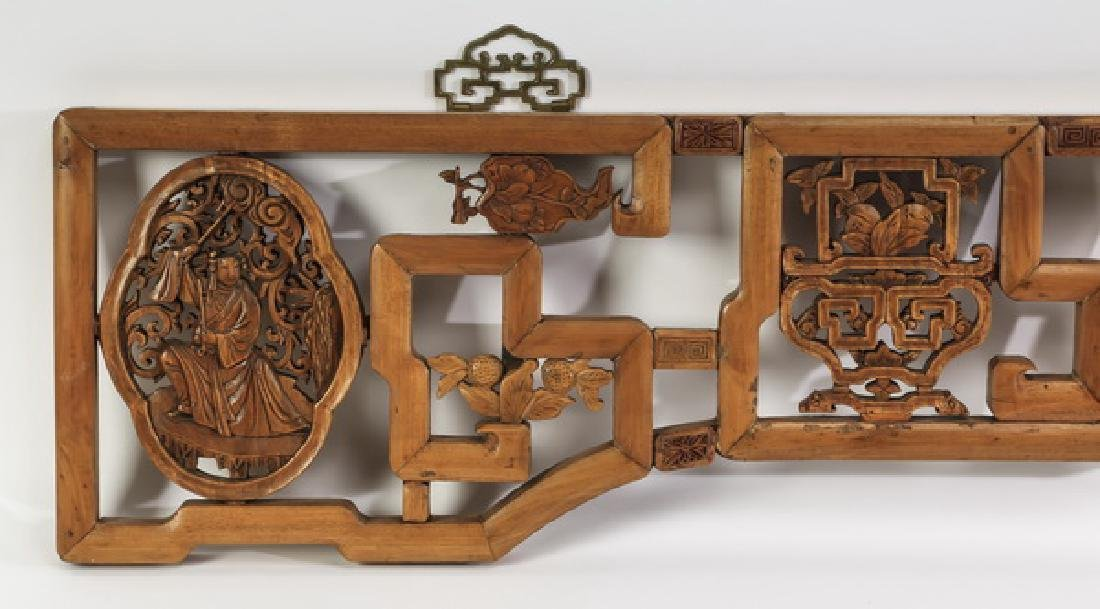 """Pierced and carved Chinese overdoor, 78""""l - 2"""