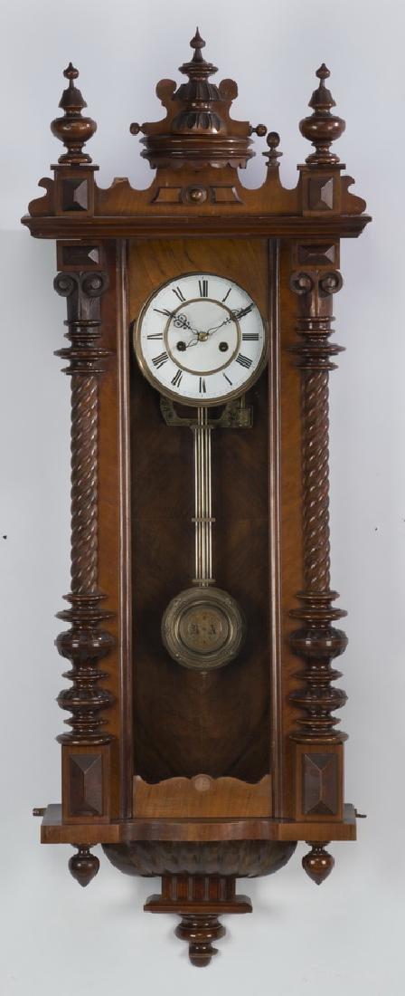 "19th c. mahogany regulator clock, 49""h"