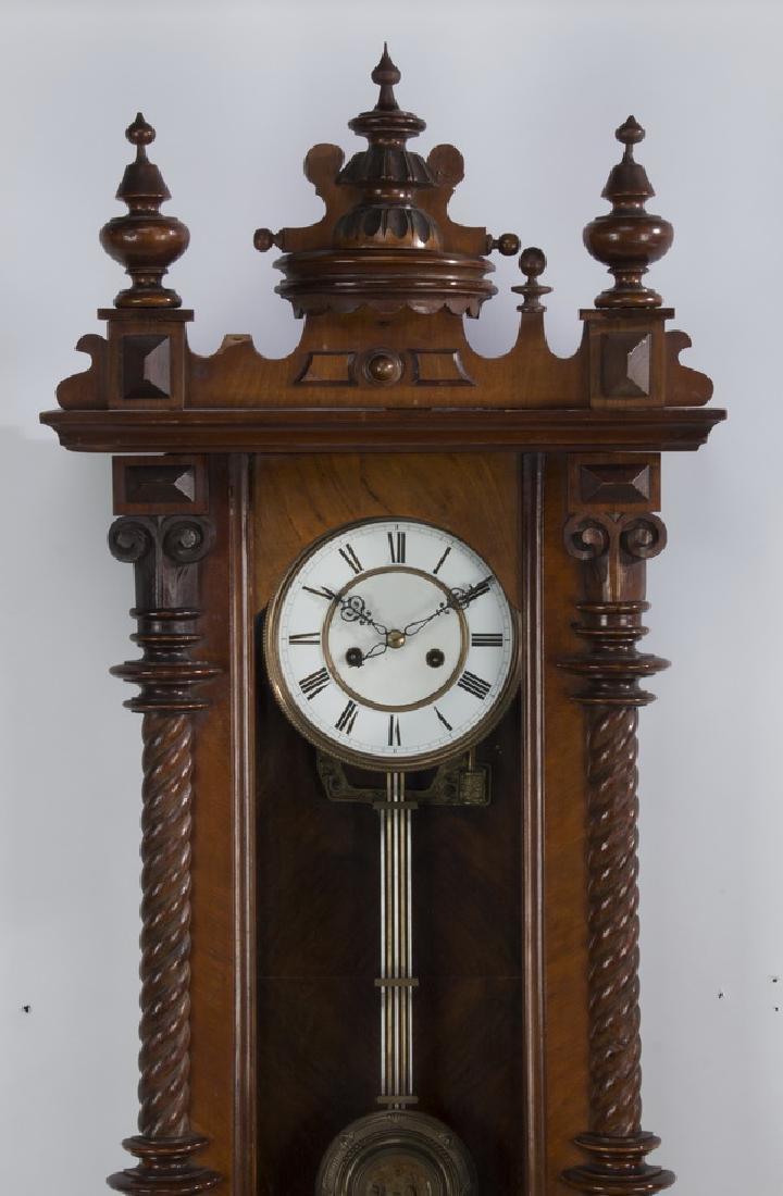 "19th c. mahogany regulator clock, 49""h - 2"