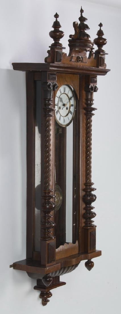 "19th c. mahogany regulator clock, 49""h - 3"