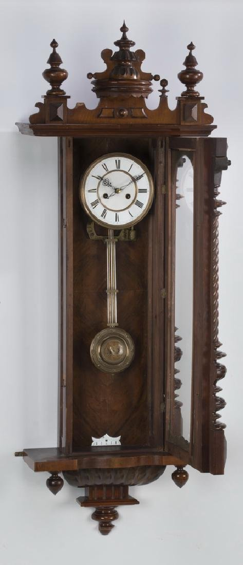 "19th c. mahogany regulator clock, 49""h - 5"