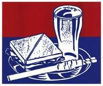 1964 Lichtenstein Sandwich and Soda Serigraph