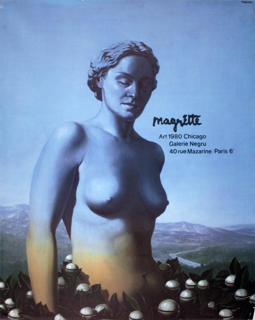 1980 Magritte Art Chicago, Galerie Negru Poster