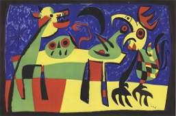 1953 Miro dog barking at moon Mourlot Lithograph