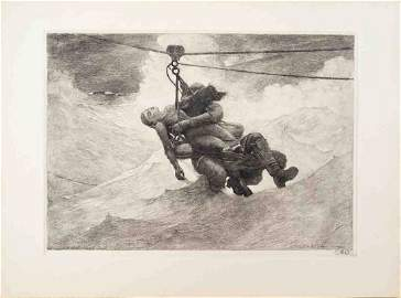 1941 Homer The Life Line (Restrike) Etching