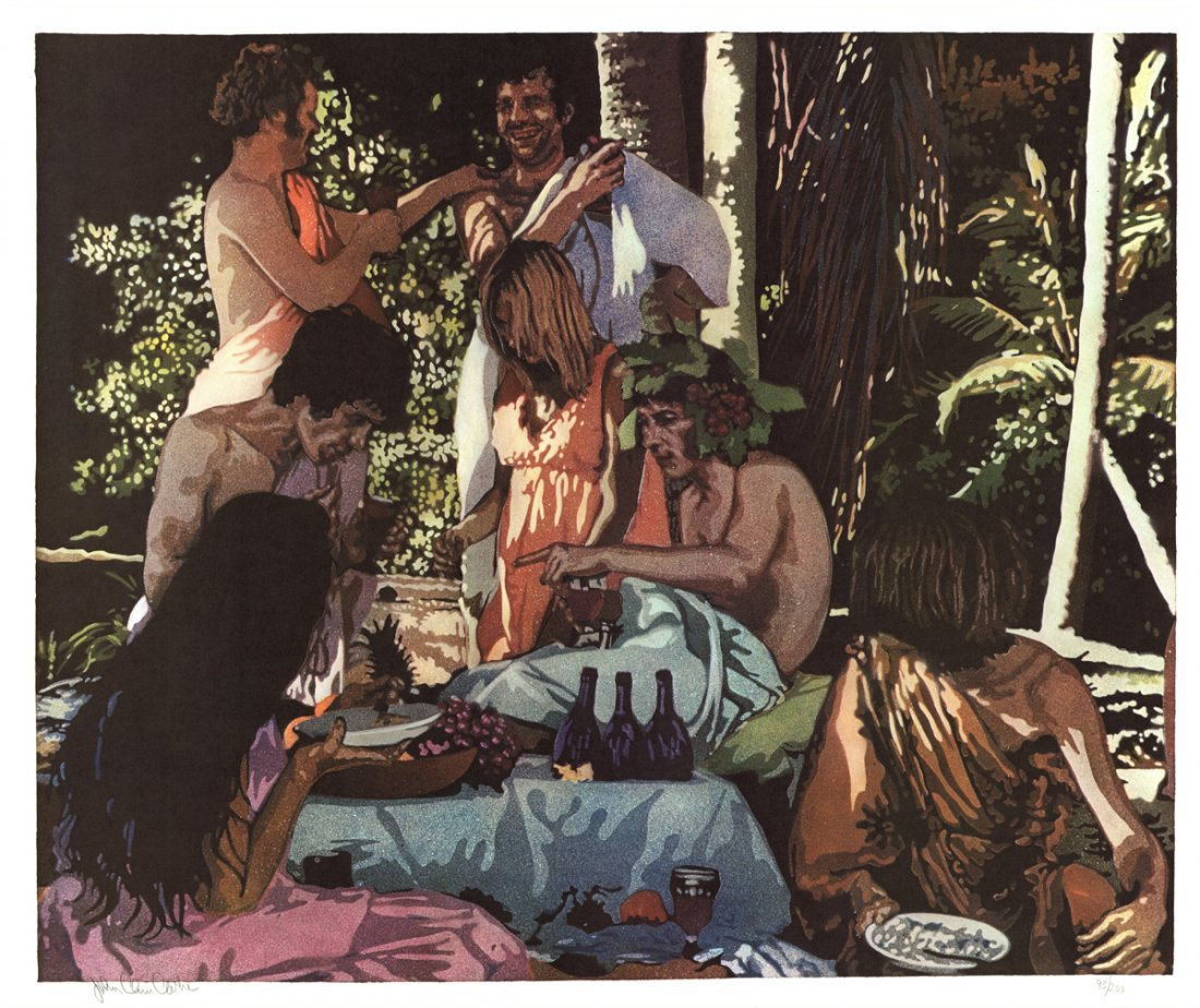 Signed 1972 Clarke Bacchanal Lithograph