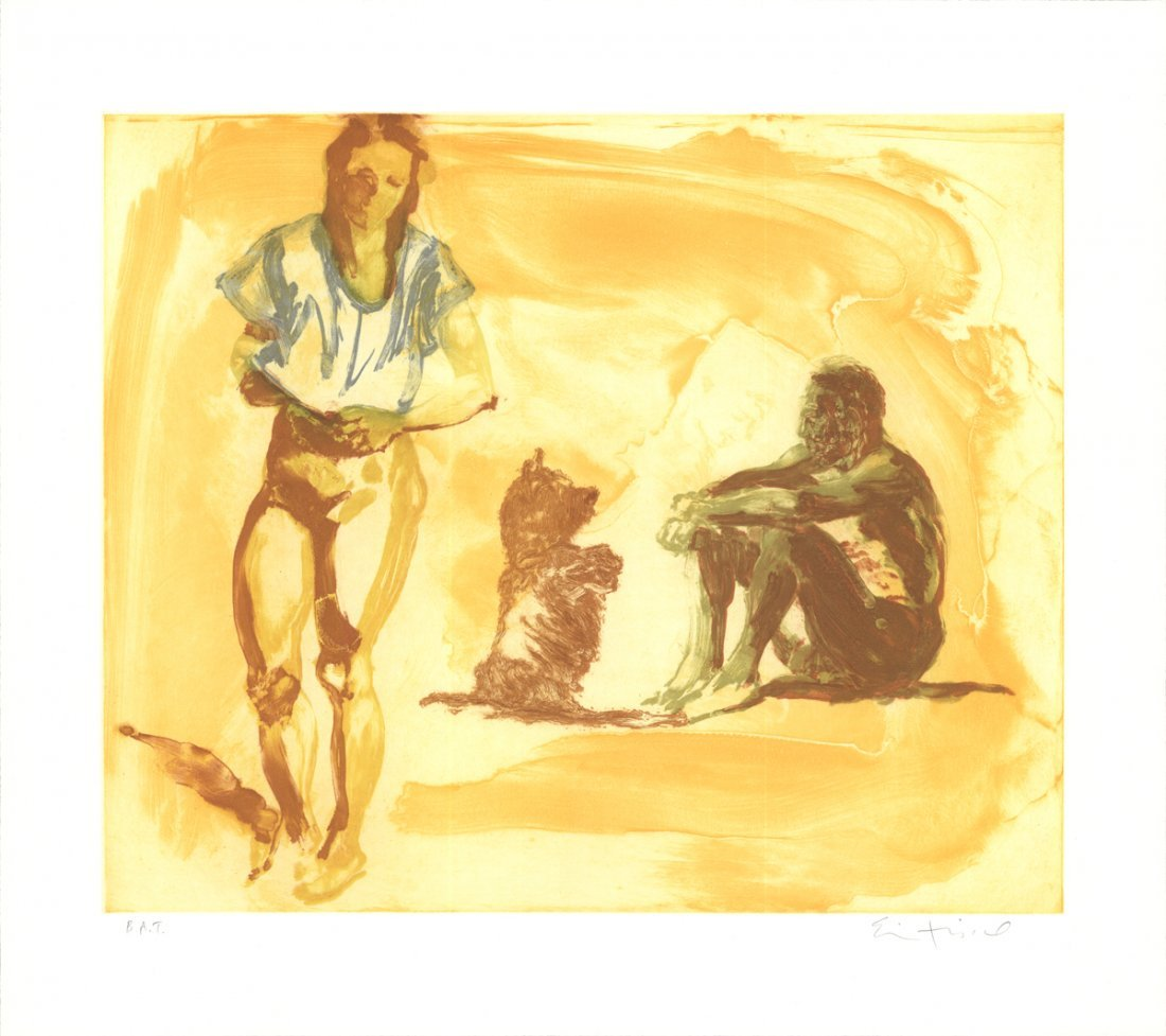 Signed Fischl Beach Scene with Poodle Etching