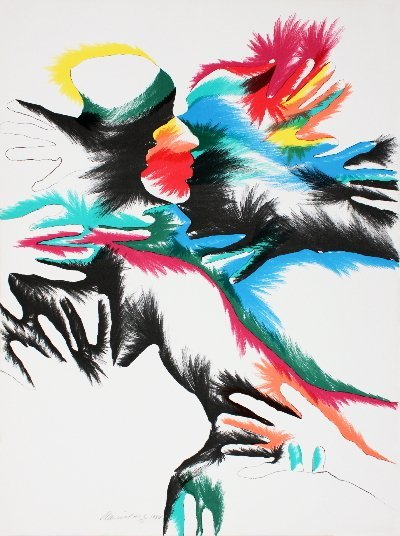 Signed 1980 Marisol Blackbird Love Lithograph