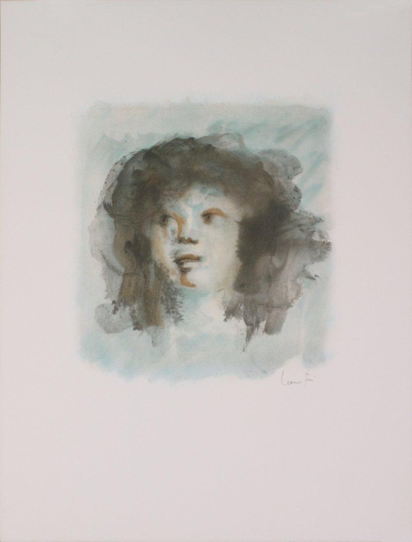 Signed 1974 Fini Blue Portrait Lithograph