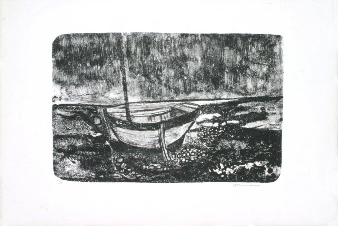 Signed Minaux Boat Scene Mourlot Lithograph