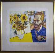 1988 Grooms van Gogh with Sunflowers Lithograph