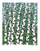 Signed 1984 Welliver Birches Serigraph