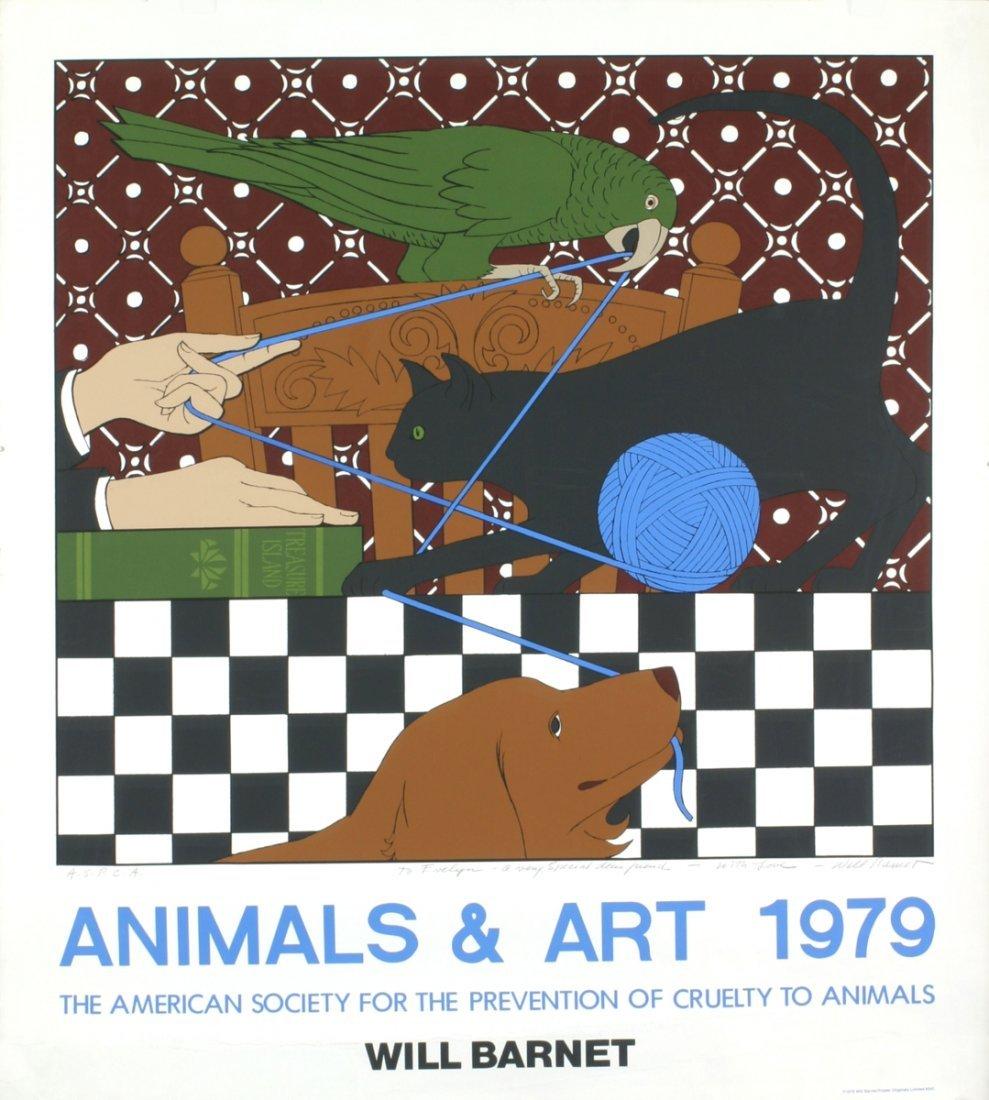Signed 1979 Barnet Animals & Art Serigraph
