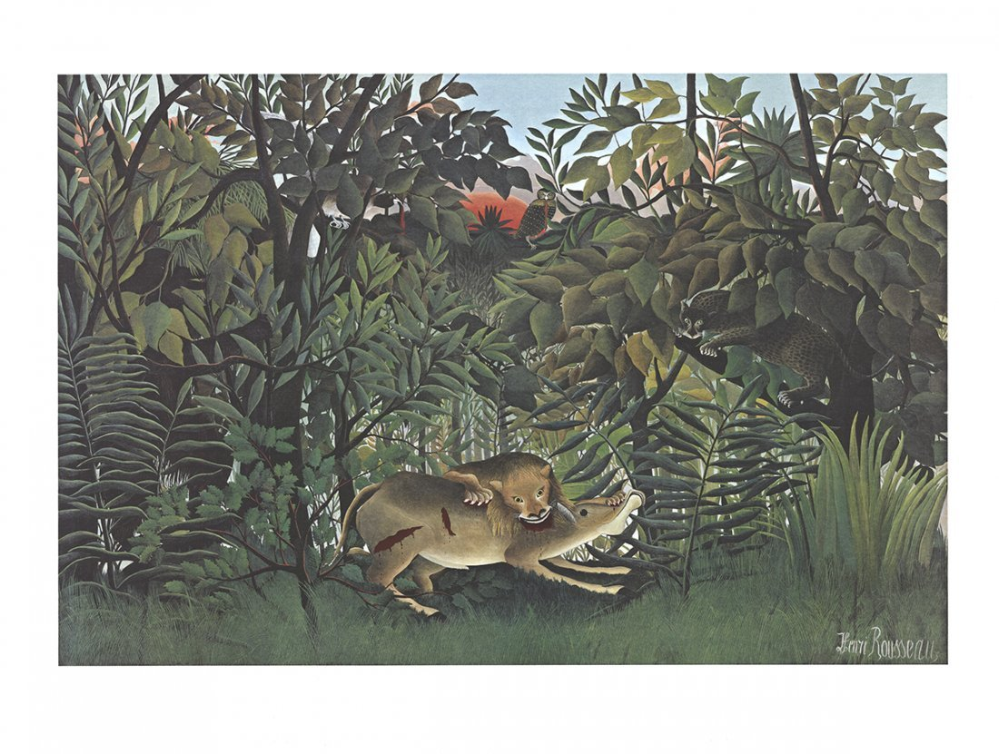 Henri Rousseau-Hungry Lion, Falls on the Antelope