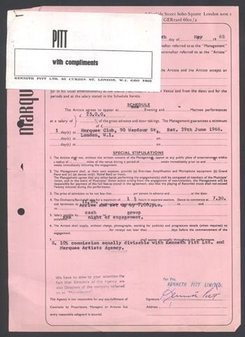8: DAVID BOWIE Pitt Management Marquee contract