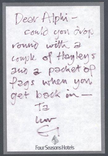 12: ERIC CLAPTON handwritten note