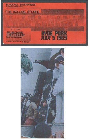 124: ROLLING STONES Hyde Park concert backstage pass